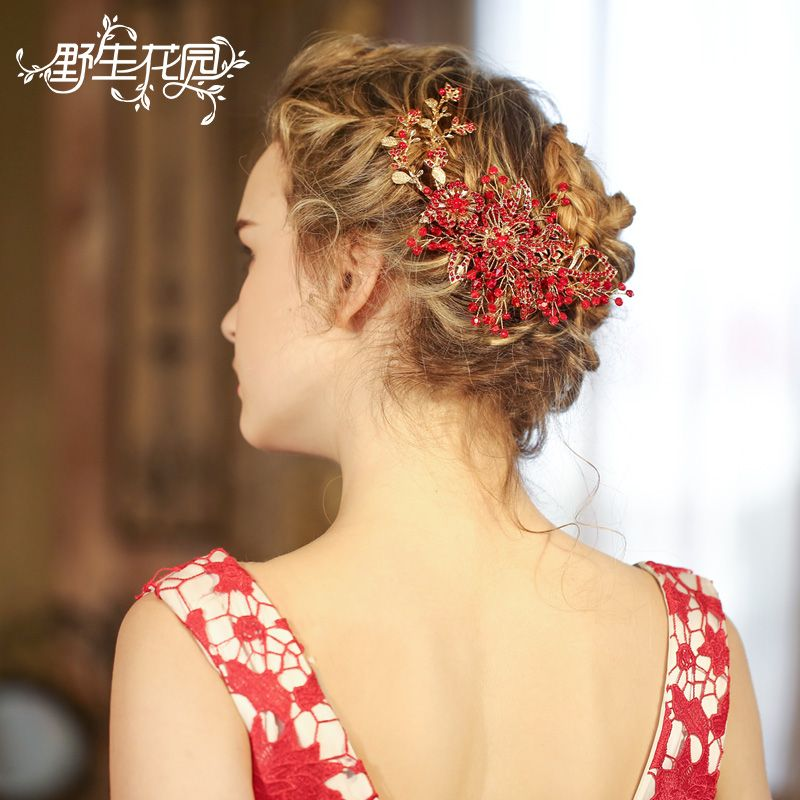 Fashion Handmade Bridal Hair Combs Jewelry Accessories for Women Wedding Headpiece Red Flower Crystal Rhinestone Party Headpiece