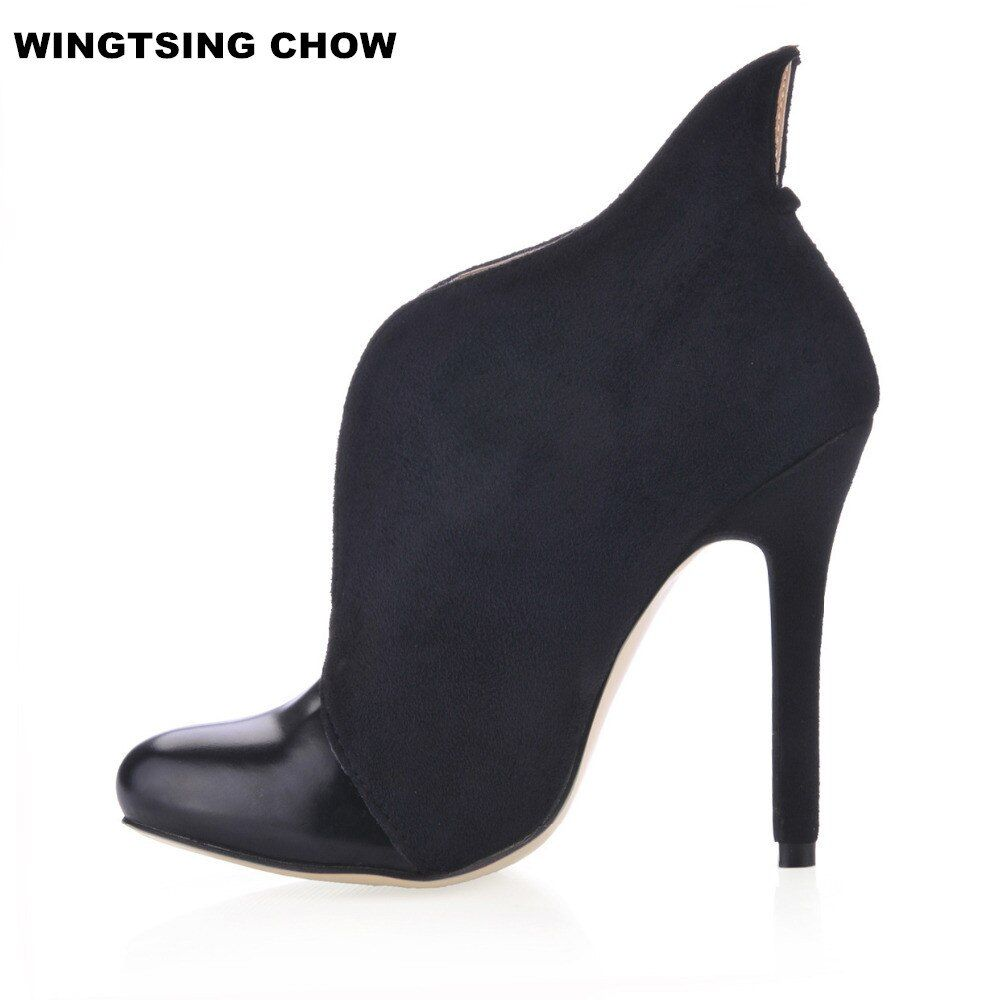Big Size 43 Autumn Ankle Boots Women Pumps Sexy High Heels Fashion Leather Shoes Women High Boots Brand Ladies Shoes Boots