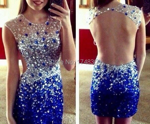 New Arrival Open Back Sexy Short Prom Dress 2016 Scoop Neck Full Crystal Blue Cocktail Party Dress Vestido de noiva Plus Size