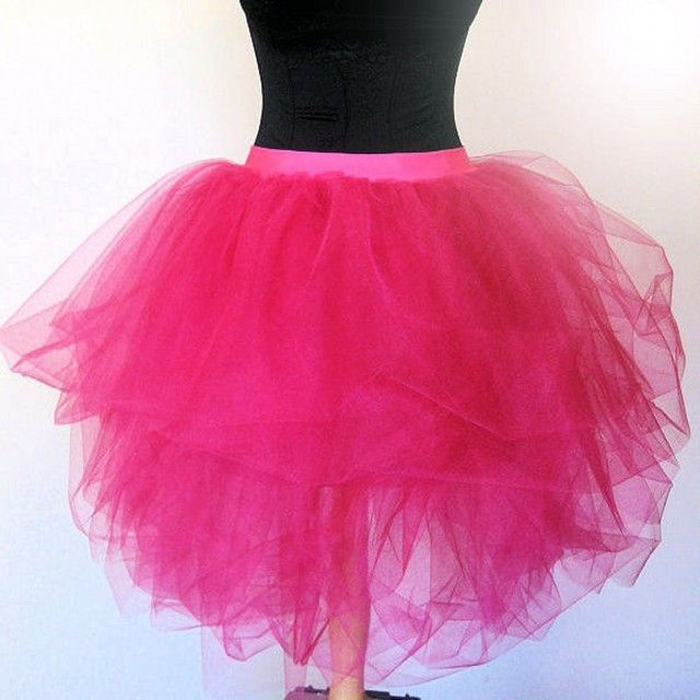 Tulle Skirts Women Knee Length Super Puffy Ball Gown Tutu Skirt Fashion Pleated Hot Pink Skirt Ballet Style