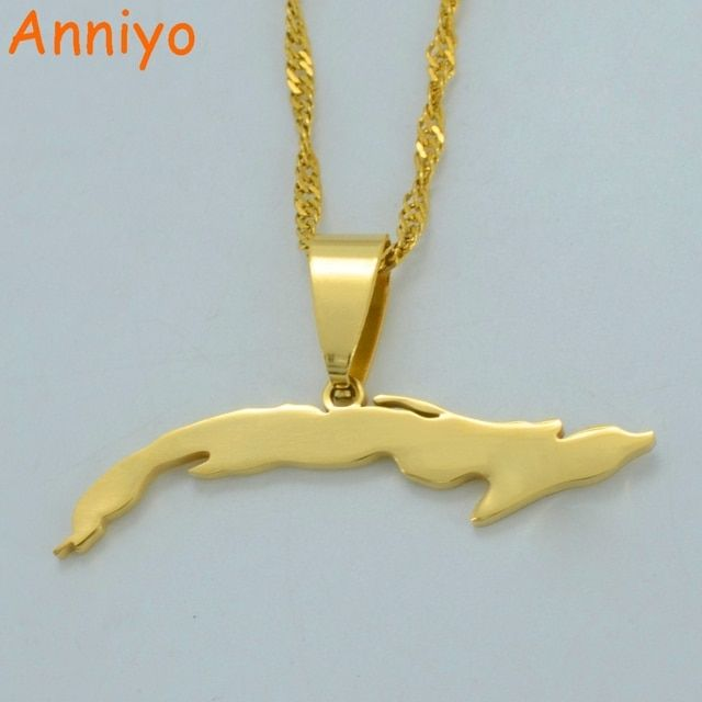 Anniyo (Gold or Silver Color)Small Size Cuba Map Necklaces for Women,Map of Cuba Charm Pendant Jewelry With Thin Chain #007121