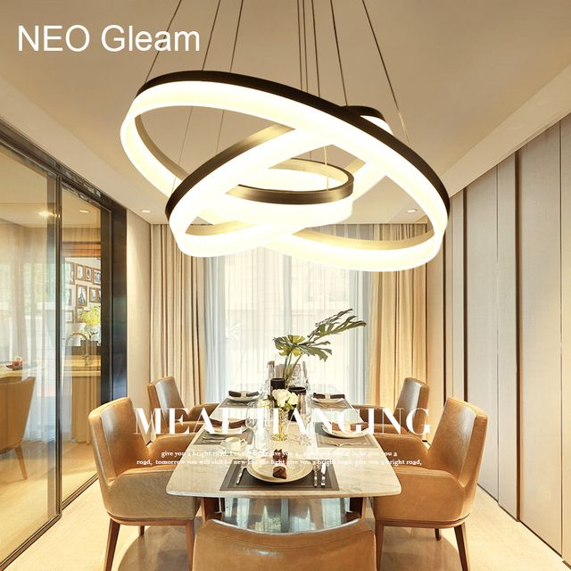 Luxury Modern chandelier LED circle ring chandelier light for living room Acrylic Lustre Chandelier Lighting white sliver 85-265