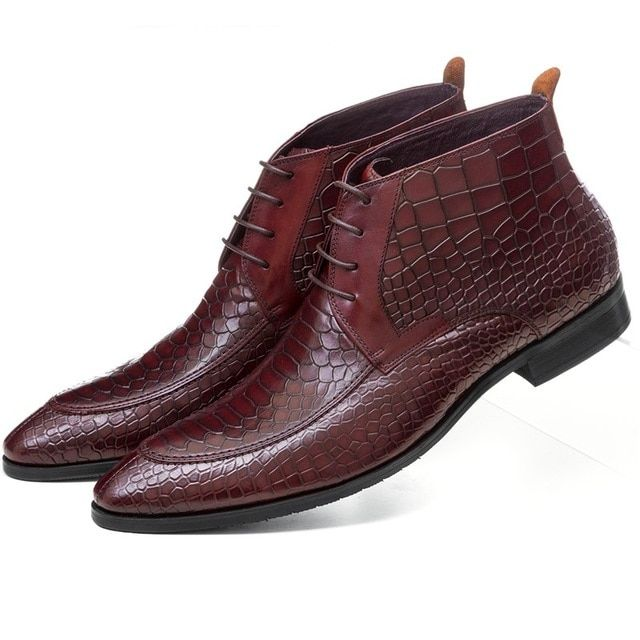 Serpentine dress shoes mens ankle boots genuine leather formal boots pointed toe mens office shoes