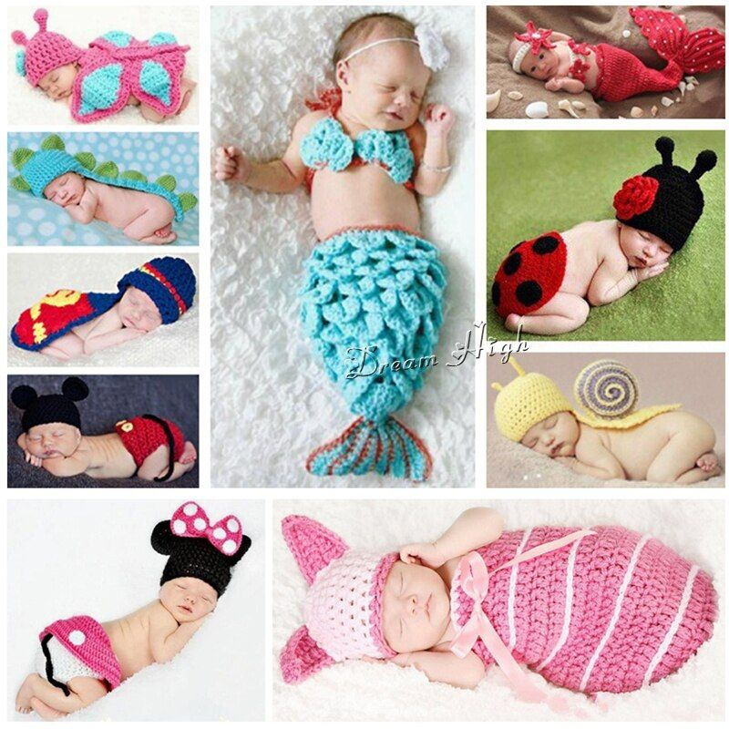 Hot Animals Infant Mermaid Costume Newborn Hat Butterfly Kids Clothes Set,Snail Knitted Photography Prop Baby Crochet Clothes