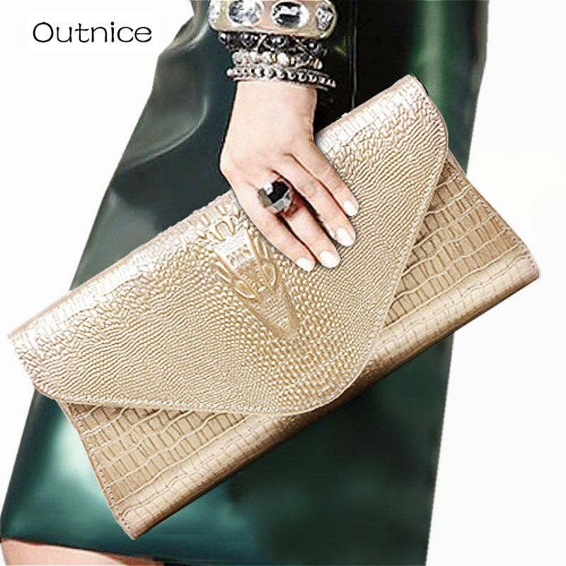 Women Clutches Designer Evening Bags Luxury Gold Genuine Leather Crocodile Pattern Chain Shoulder Crossbody Purse for Lady