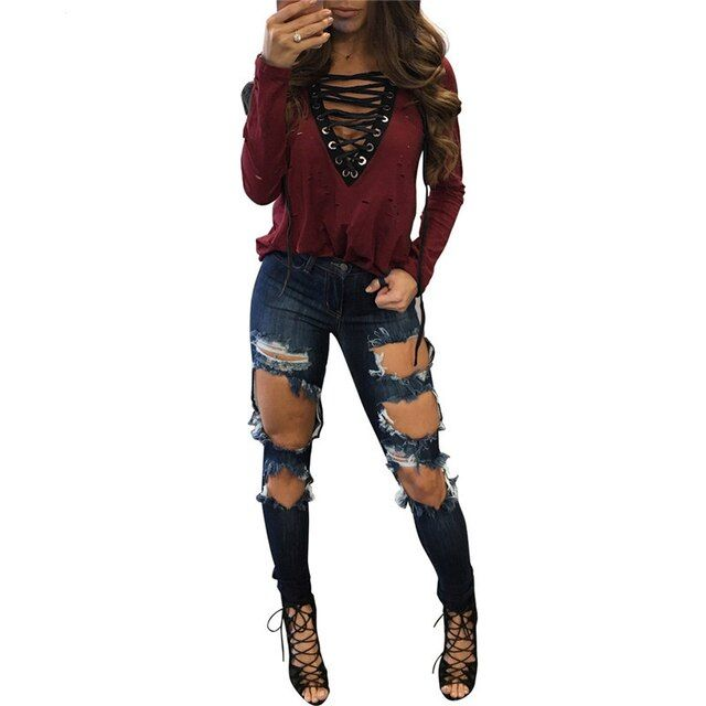 Fashion Hole T-Shirt Female Sexy Hollow Out Lace Up T Shirt Women LongSleeve tshirts Cotton Women Top Tees Black Wine Red