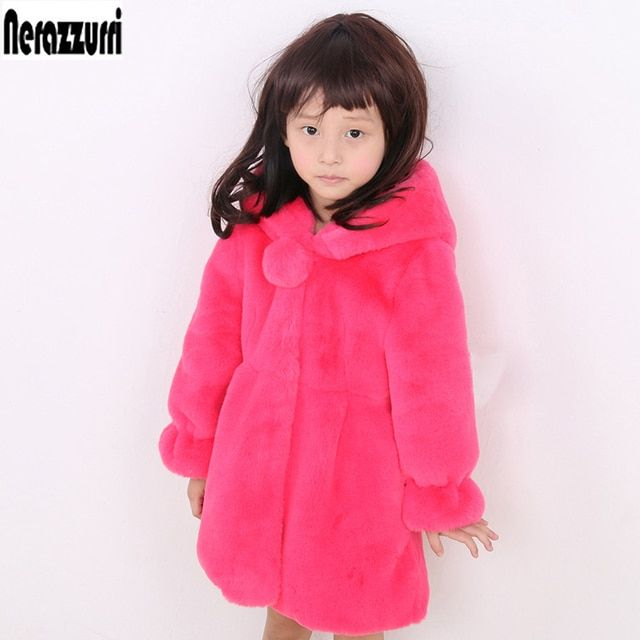 nerazzurri Kids Faux Fur Coats With Hood Long Sleeve Baby Kawaii Fake Rabbit Jacket Cute Thick Warm Outerwear Girls Fur Clothes