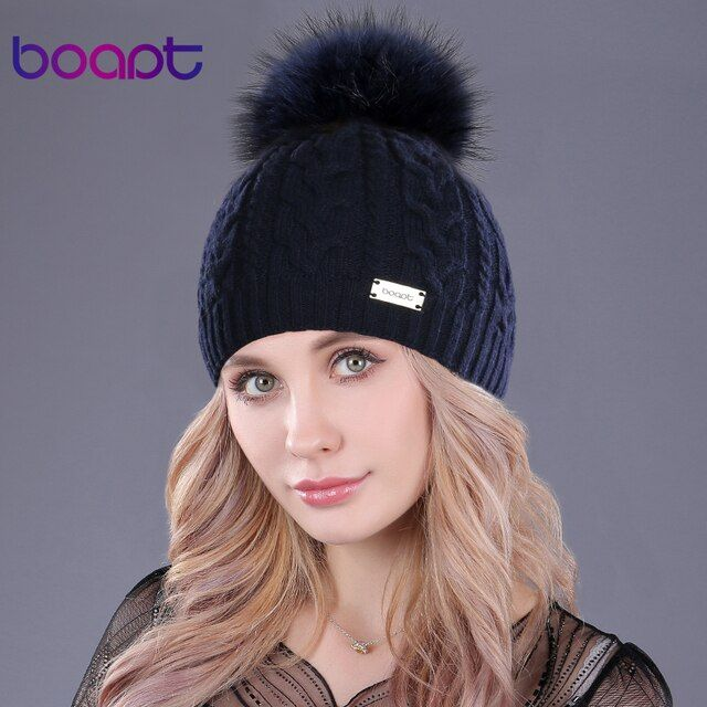 [boapt] soft cashmere knited cap natural genuine real raccoon fur pom pom women's hats winter caps female hat skullies beanies