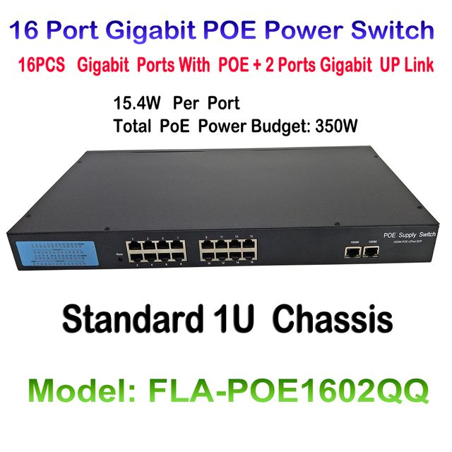 16 port 10/100/1000M Fast Ethernet Switch PoE switch IEEE 802.3af Plus 2ch 1000M UP Link 16CH POE Switch For POE Onvif IP camera