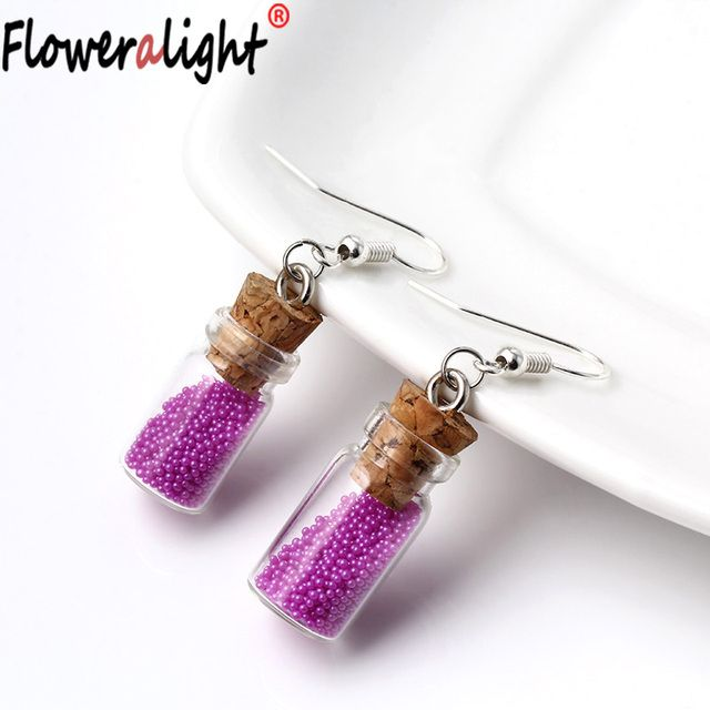 New Trendy Bright Pink Beads Glass Bottles Drop Earring Fashion Jewelry For Women Cylindrical Earrings boucle d'oreille EZ2005