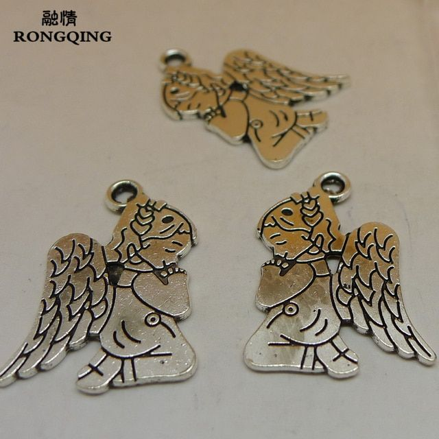 RONGQING 100Pcs/lot Antique Silver Praying Angel Charms 25x15mm Fairy Pendant DIY Jewelry Accessories