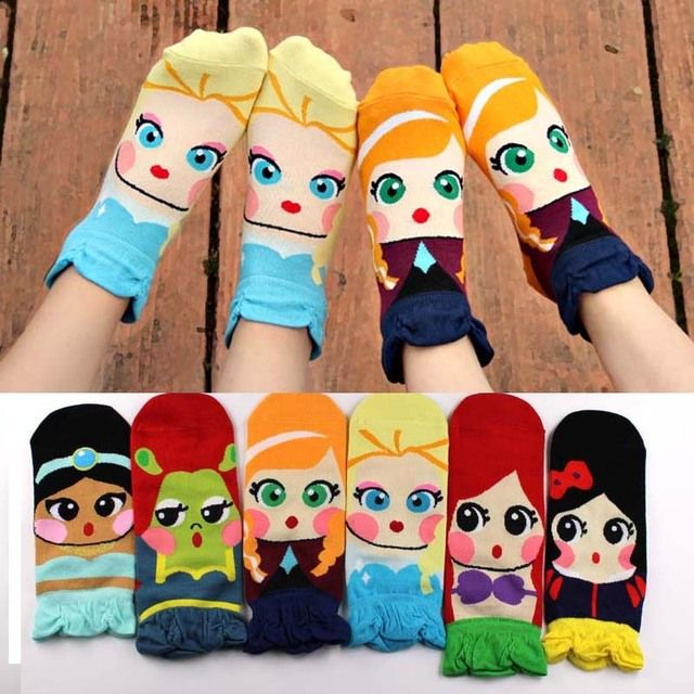 kawaii ladies girl Socks Women Girl's Cartoon Cotton ankle Socks Princess Anna Elsa Fiolla Jasmine Mermaid Fashion Tube Socks