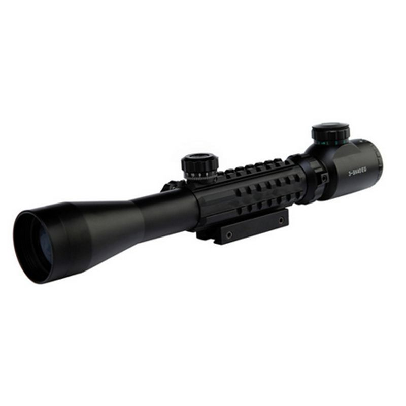 Tactical Scope Hunting Optical Rifle C3-9X40EG Red Green Dot Scope Illuminated Rails&Mount Airsoft Rifle scopes Air Gun Scope