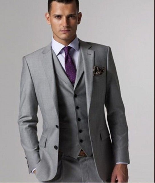 Custom Made Groomsmen Notch Lapel Groom Tuxedos Light Grey Men Suits Wedding Best Man Blazer (Jacket+Pants+Tie+Vest) B126