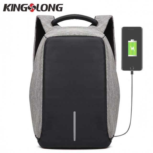 KINGSLONG Men Business Backpacks USB Charging Design School Backpack for Teenagers 15.6 Inch Laptop Backpack Anti-theft Bags