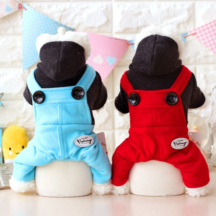 Cute Dog pet cat Jumpsuit overall Winter warm fleece small dog Coat jacket clothing for pet chihuahua dog puppy hoodie clothes