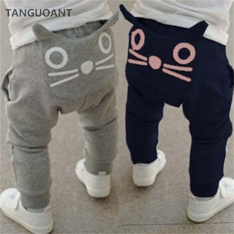 TANGUOANT Retail hot sale spring and autumn kids clothing boys girls harem pants cotton owl trousers baby pants