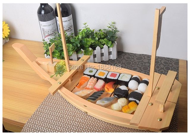 50cm Wooden Sushi Boat Japanese Style Wooden Sushi Boat Sushi Cotainer With Net Beef Boat With Boat Net 20 inch