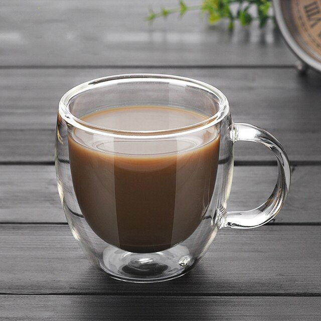 250ml 90ml Double coffee Mugs With the handle Mugs drinking Insulation double wall glass tea cup creative gift drinkware milk