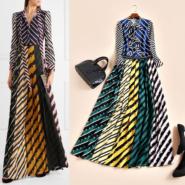Stunning striped floral patterns print women fashion bow collar shirts + floor length skirts suit two piece set 2017 spring new