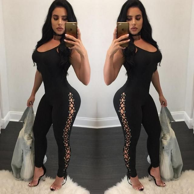 2017  Bodysuit Women Europe And United StatesFashion Women Loose Repair Piece Jumpsuit Cornea Bandage Pants