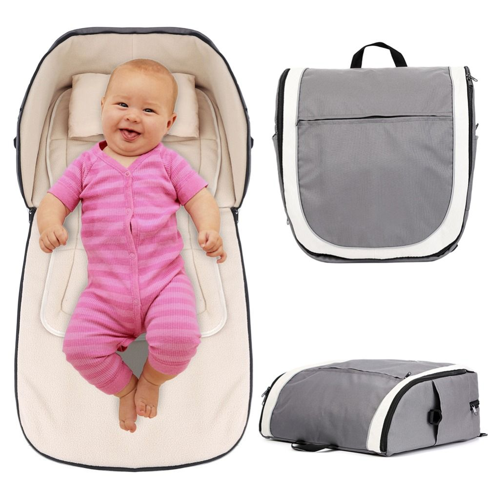 2in1 Portable Baby Travel Bag and Carrycot Outdoor Folding Bassinet Baby Crib Diaper Nappy Changing Bag Mummy Handbag