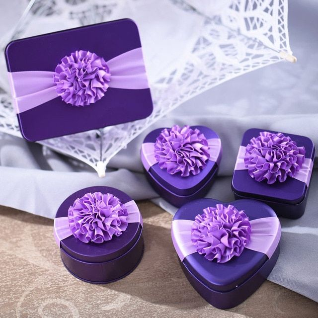 6Pcs/Sets Heart and Square and Roundc Metal Candy/Chocolates Box/Wedding Invitation/Wedding Decoration/Event and Parties Supply
