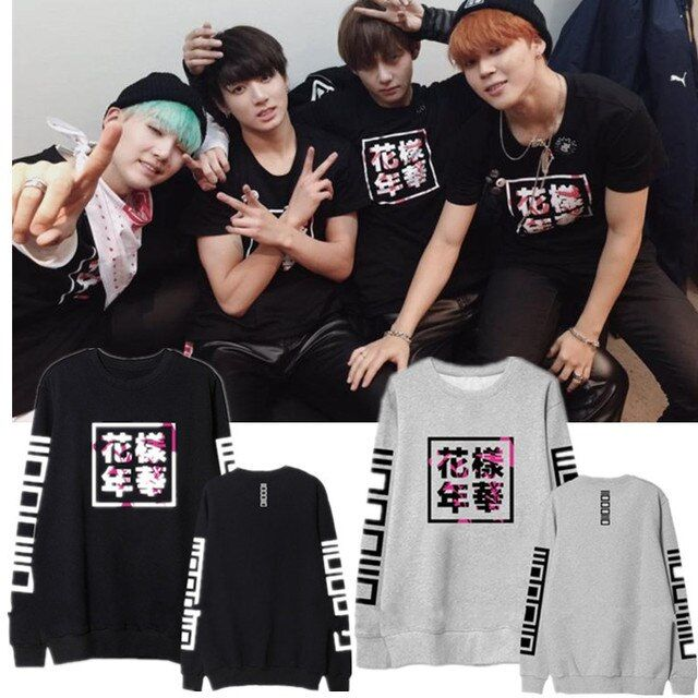 New Arrived BTS Bangtan Boys Korean Cotton Mood for Love Print Black White Gray Pullovers Hoodies Sweatshirts for Women Girl Boy