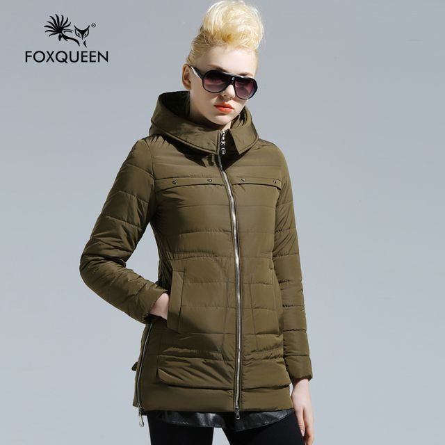 Foxqueen 2016 New Arrive Fashion Spring Plus Size Women's Coat Cotton Padded Warm Thin Hooded Outwear Brand Jacket