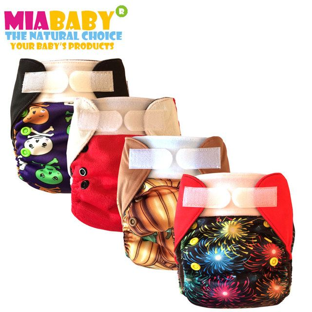 Miababy Cloth Diaper/AIO and Pocket cloth  Diaper  Charcoal Bamboo inner and Hemp insert, fits 3-6 months baby,halloween prints