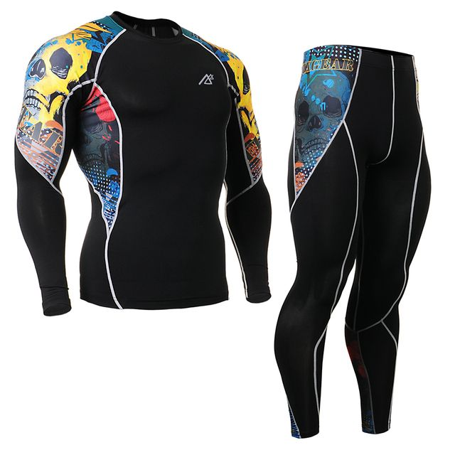 Men's Bodybuilding and Fitness Clothes Set Compression Pants & Sports T Shirt Long Sleeve 4 Way Stretch C2L_P2L Running Tights