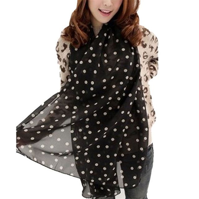 Hot 3colors Autumn Winter Stylish Girl Long Soft Silk Chiffon Scarf Wrap Polka Dot Shawl Scarve For Women H12 Drop Shipping
