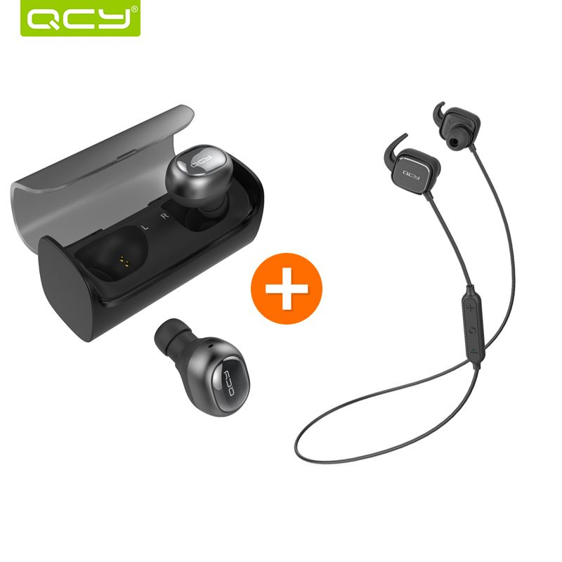 QCY Q29 3D stereo earphones mini wireless earbuds bluetooth 4.1 noise canceling headset and QY12
