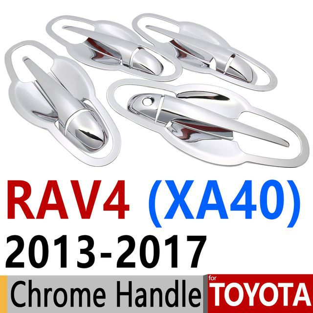 For Toyota RAV4 2013-2017 Chrome Door Handle Covers Trim Set of 4 Door RAV 4 XA40 Hybrid 2014 2015 2016 Accessories Car Styling