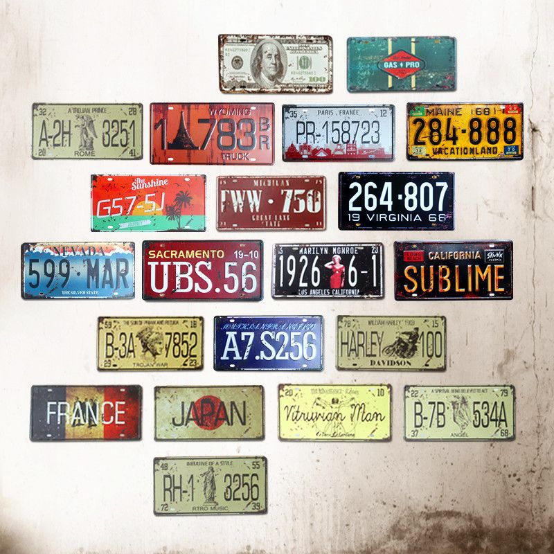 HD Motorcycles HOME Number License Metal Tin Sign Vintage Home Decor Painting Bar Garage Cafe Wall Poster Iron Plate Plaque A916