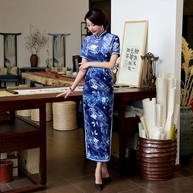 New Arrival Vintage Women's Silk Long Cheongsam Fashion Chinese Style Dress Elegant Qipao Size S M L XL XXL XXXL F101407