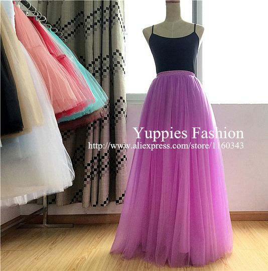 100% Real Images 6 Layers 100cm Muslim Long Skirts 2015 Spring Summer Tutu Skirt Ball Gown Pleated Women Tutu Skirt  YFS0302100