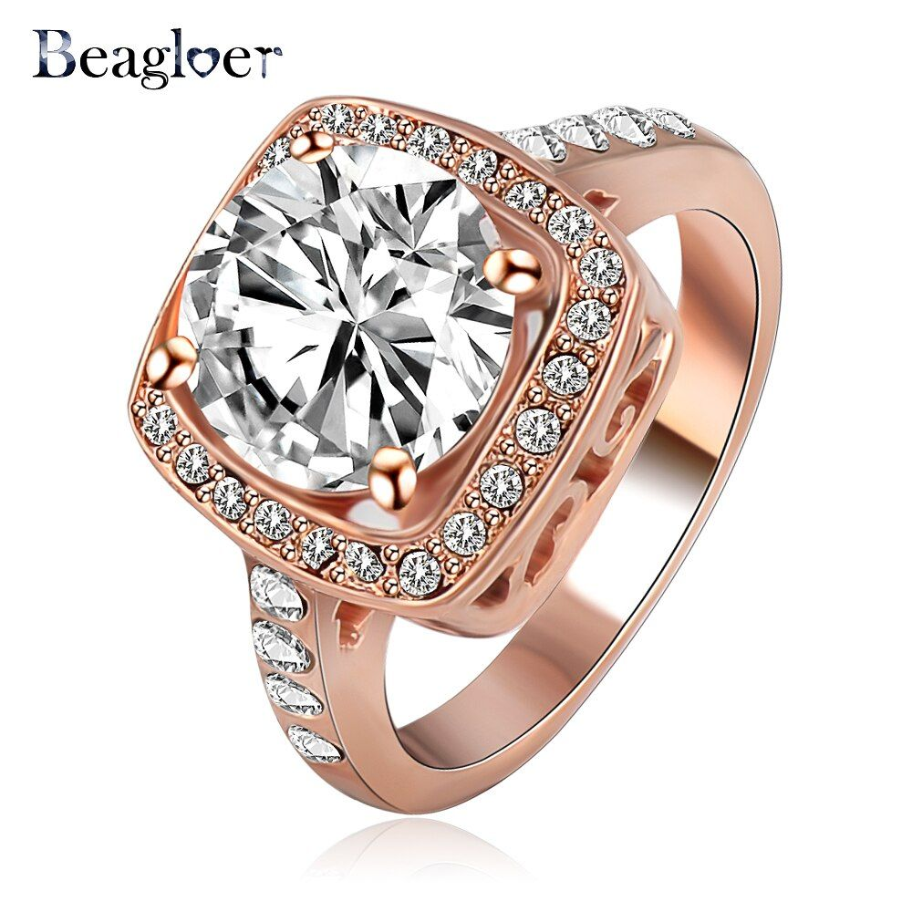Beagloer  Big Promotion Begloer Rose Gold /Silver Color  Element Austrian Crystal Engagement Rings Wholesale Ri-HQ1003