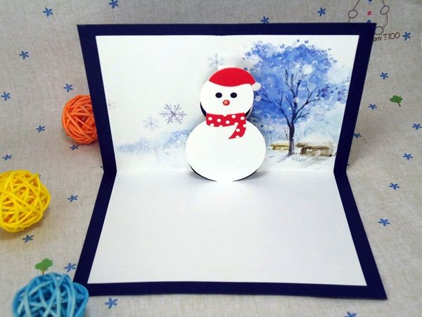 3D Snowman Xmas Festival Greeting Cards Pop Up Christmas Cards