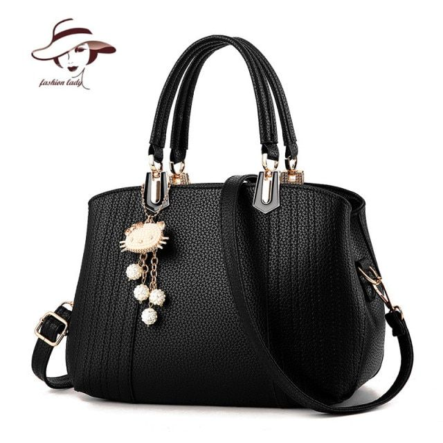 2017 Girls Bag Lovely cat Pendant Women Messenger Bag Ladies Beading Shoulder Handbag PU Leather Hand Bag Lovely Crossbody Tote