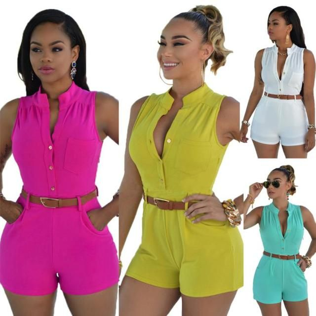 2016 Summer Fashion Romper Bodycon Rompers Womens Jumpsuit Sleeveless Shorts Plus Size Playsuit Bodysuit With Belt