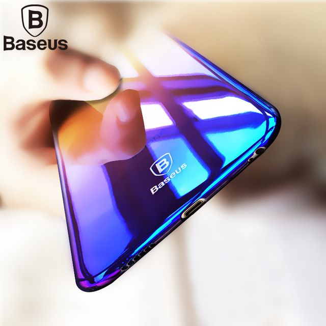 Baseus Luxury Aurora Gradient Case For iPhone 6 6S 7 Plus Colorful Transparent Hard PC Glaze Case Shell Funda For iPhone 6 6s 7