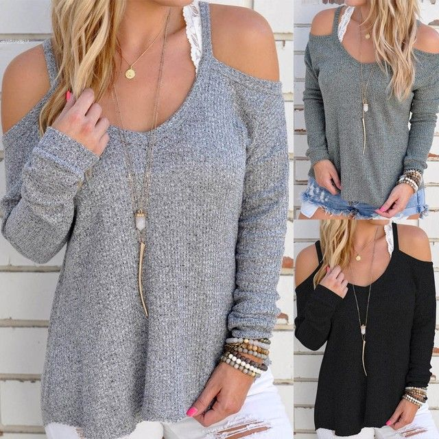 New Women Casual Off Shoulder Loose Spaghetti Strap Long Sleeve Top Blouse
