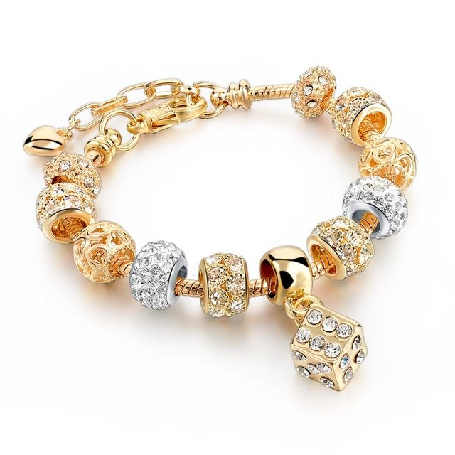 Classic Crystal Square Charm Bracelet Female Fashion Gold Bracelets Bangles For Women Sbr160057