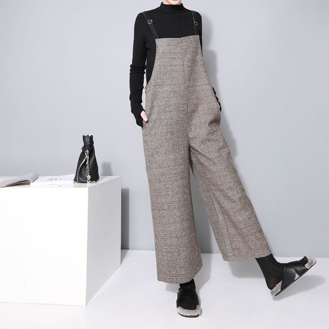 [XITAO] 2016 autumn winter women's South Korea fashion plaid pattern bodysuits  loose ankle length wide leg jumpsuit LL024