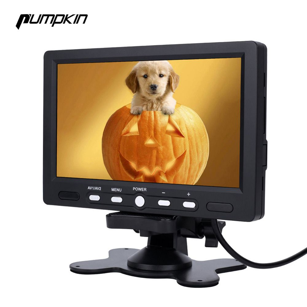 Pumpkin 7 Inch LCD Display Screen Car Monitor Rear View DVD VCR LED Lights Night Vision Rear view Reversing Camera Monitor