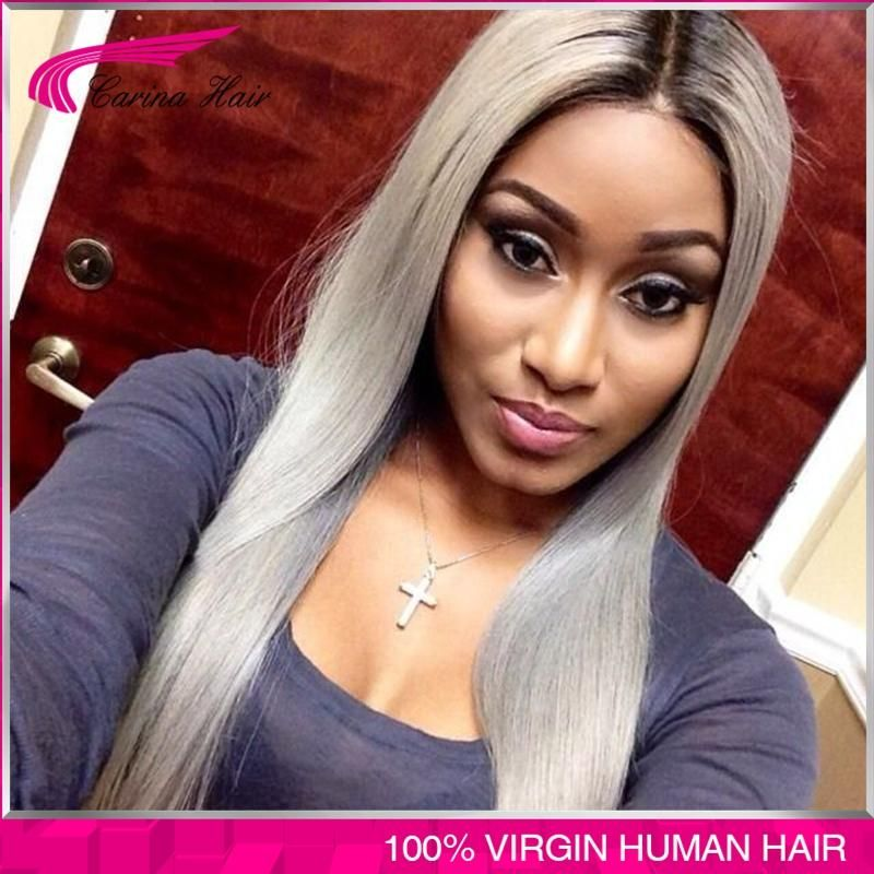 100% virgin brazilian glueless ombre grey lace front wig two tone Brazilian gray human hair full lace wigs 150% Density freeship