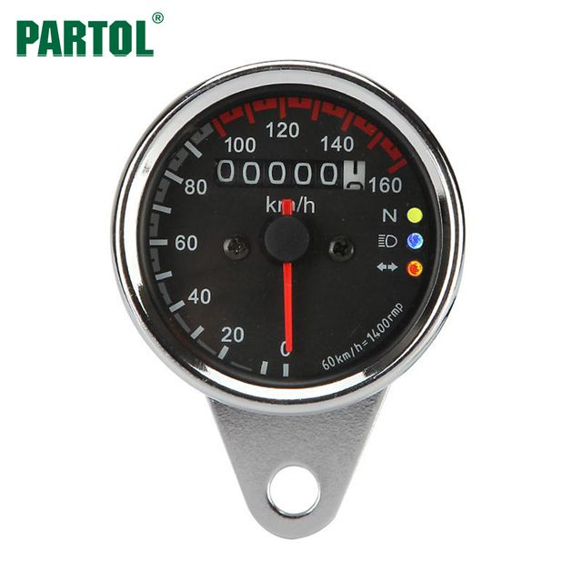 Partol Motorcycle Speedometer Odometer Gauge ATV Bike Scooter Backlit Dual Speed Meter with LED Indicator DC 12V 0~160km/h