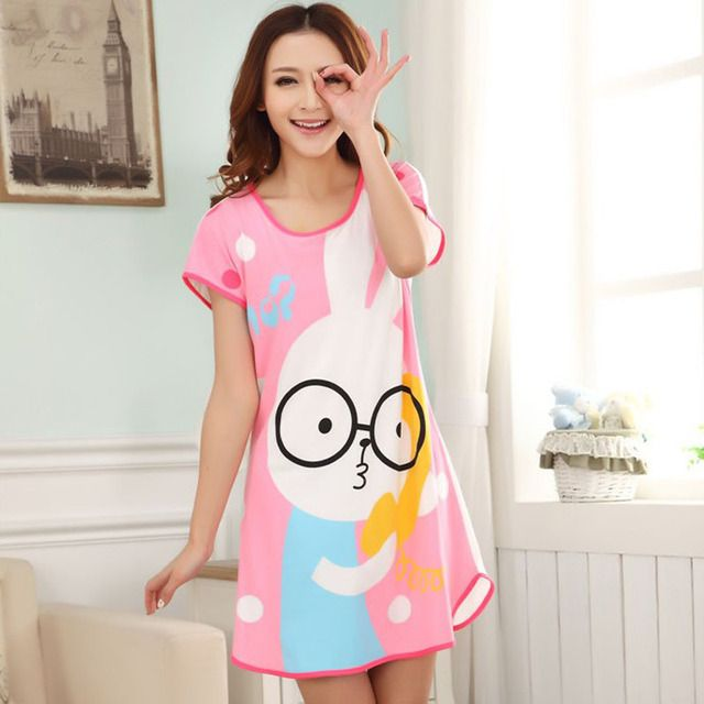 2017 Summer Women's Nightgowns Short Sleeve Dress Cute Girls Sleepwear Cartoon Rabbit Printed Nightwear Short Mini Sleepdress