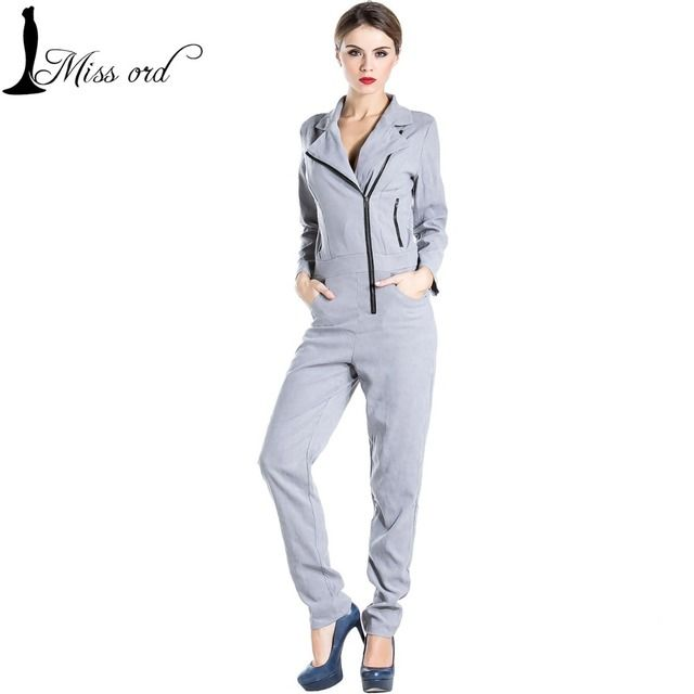 free shipping Missord 2017 Sexy v-neck long-sleeved zippers jumpsuits  FT3234
